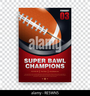 poster american football , banner and brochure template vector design, super bowl, rugby sport - Stock Photo