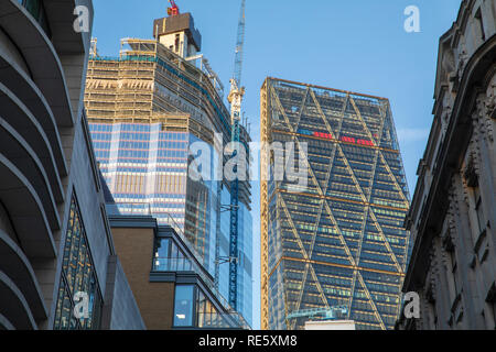 22 Bishopsgate (under construction) & The Leadenhall Building in London, England. - Stock Photo