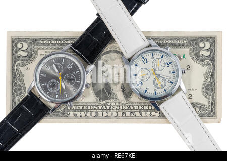Two wristwatches showing different times on a two-dollar bill, isolated on a white background - Stock Photo