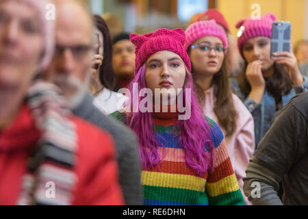 Des Moines, Iowa, USA. 19th January, 2019. Because of severe weather and extreme cold the 3rd annual Women's March was held inside the state capitol in Des Moines on Saturday. Several hundred people participated in the event. Credit: Keith Turrill/Alamy Live News Credit: Keith Turrill/Alamy Live News - Stock Photo