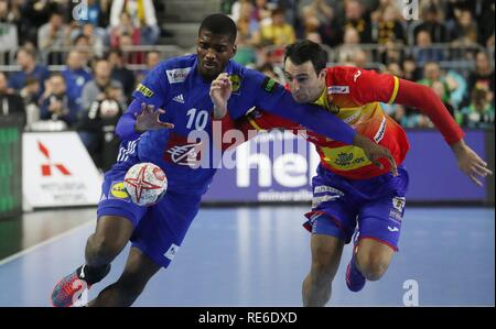 Cologne, Deutschland. 19th Jan, 2019. firo: 19.01.2019, Handball: World Cup World Cup Main Round France - Spain. Dika Mem | usage worldwide Credit: dpa/Alamy Live News - Stock Photo