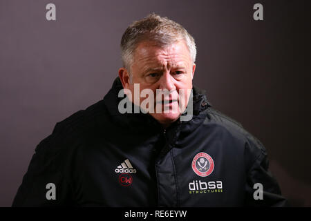 Wales, UK. 19th Jan 2019. Sheffield United manager Chris Wilder looks on. EFL Skybet championship match, Swansea city v Sheffield United at the Liberty Stadium in Swansea, South Wales on Saturday 19th January 2019.  this image may only be used for Editorial purposes. Editorial use only, license required for commercial use. No use in betting, games or a single club/league/player publications. pic by Andrew Orchard/Andrew Orchard sports photography/Alamy Live news - Stock Photo