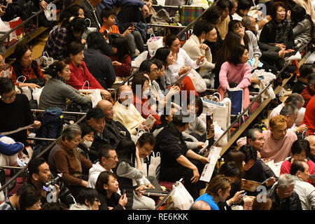 Tokyo, Japan. 20th Jan, 2019. People await a sumo wrestling match during the Tokyo Grand Sumo Tournament at Ryogoku Kokugikan on Sunday, January 20, 2019. Photo by: Ramiro Agustin Vargas Tabares Credit: Ramiro Agustin Vargas Tabares/ZUMA Wire/Alamy Live News - Stock Photo