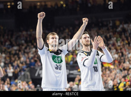 Cologne, Deutschland. 19th Jan, 2019. final jubilation Team GER, left to right Fabian BOEHM (Bohm, GER), Hendrik PEKELER (GER), main group group I, Germany (GER) - Iceland (ISL) 24 - 19, on 19.01.2019 in Koeln/Germany. Handball World Cup 2019, from 10.01. - 27.01.2019 in Germany/Denmark. | usage worldwide Credit: dpa/Alamy Live News - Stock Photo