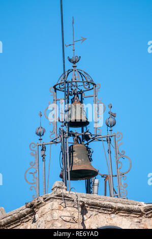 church in the municipality of Bagà, bell tower, Bagà, Catalonia, Spain - Stock Photo