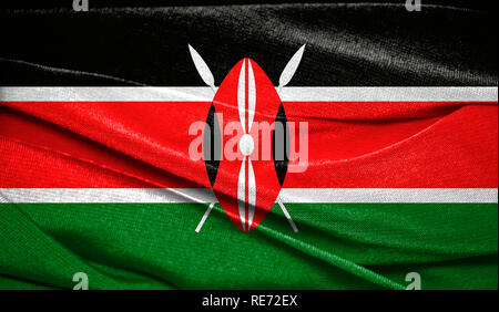 Realistic flag of Kenya on the wavy surface of fabric. Perfect for background or texture purposes. - Stock Photo