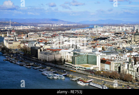 Budapest panoramic view by day from the Citadella, Gellert Hill, Hungary. - Stock Photo