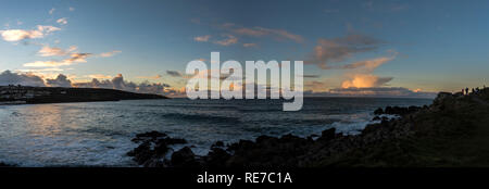 Panoramic shot of dramatic clouds at dusk taken from The Island St.ives Cornwall UK Europe - Stock Photo