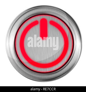 power button red close, top view start push press - 3d rendering - Stock Photo