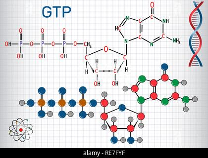 Guanosine triphosphate (GTP) molecule, it is used in synthesis of RNA and as a source of energy for protein synthesis. Sheet of paper in a cage. Struc - Stock Photo