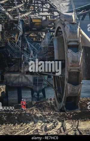19.01.2019, Juechen, North Rhine-Westphalia, Germany - Bucket wheel excavator in RWE's Garzweiler lignite open pit mine, Rhineland lignite mining area - Stock Photo