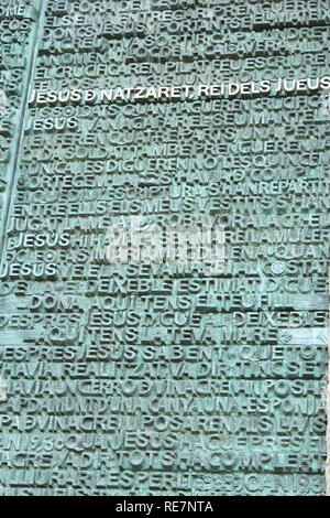 Words found on the Passion facade of the Sagrada Familia in Barcelona, Spain - Stock Photo