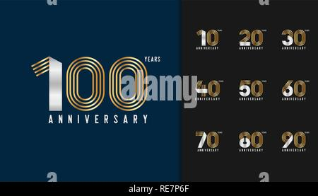 Set of anniversary logotype. Golden and silver anniversary celebration emblem design for company profile, booklet, leaflet, magazine, brochure poster, - Stock Photo