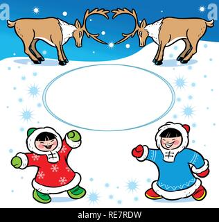 The picture shows children dressed in ethnic attire.They are having fun on the white snow.Near them are reindeer.Illustration done in cartoon style - Stock Photo
