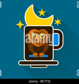 Night Owl And Moon Original Design . Vector Illustration - Stock Photo
