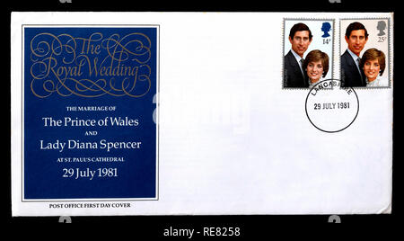 UK first day cover 1981 marraige of Prince Charles to Lady Diana Spencer. Stock Photo