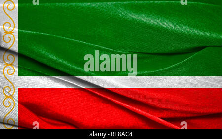 Realistic flag of Chechen Republic on the wavy surface of fabric. Perfect for background or texture purposes. - Stock Photo