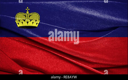 Realistic flag of Liechtenstein on the wavy surface of fabric. Perfect for background or texture purposes. - Stock Photo