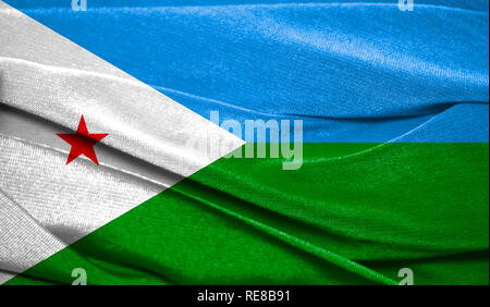 Realistic flag of Djibouti on the wavy surface of fabric. Perfect for background or texture purposes. - Stock Photo