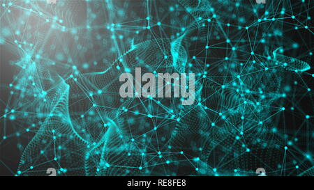 Fantastic abstract technology, space with may connecting dots and lines, connection structure background, 3d rendering - Stock Photo