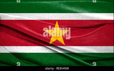 Realistic flag of Suriname on the wavy surface of fabric. Perfect for background or texture purposes. - Stock Photo