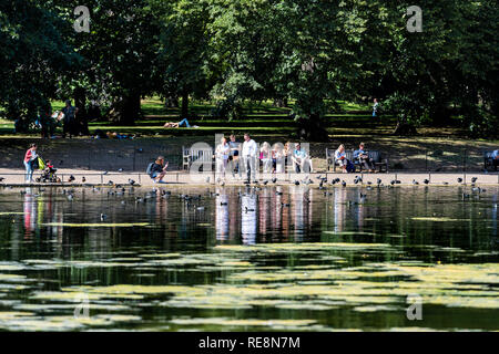 London, UK - June 21, 2018: St James Park green trees in sunny summer with many people walking on sidewalk by pond river water and reflection feeding  - Stock Photo