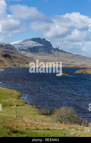The Old Man of Storr from Loch Fada old a windy day, Trotternish, Isle of Skye, Scotland - Stock Photo