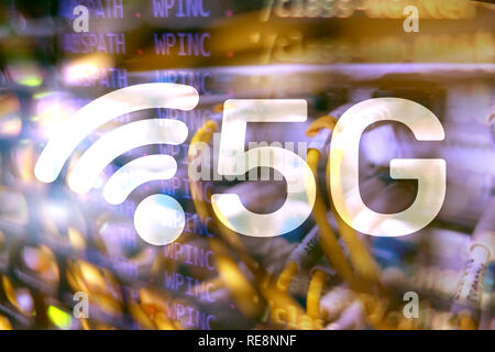 5G Fast Wireless internet connection Communication Mobile Technology concept - Stock Photo