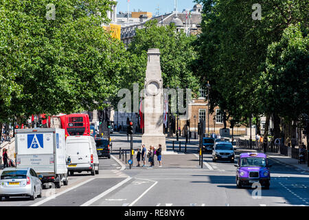 London, UK - June 22, 2018: The Glorious Dead inscription on Cenotaph in the city of Westminster with street and high angle view of cars on road - Stock Photo