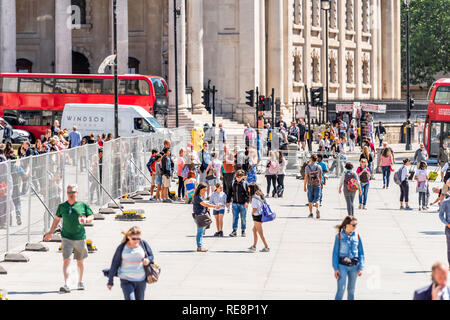 London, UK - June 22, 2018: Many people standing outside walking on sunny summer day by Trafalgar square high angle view - Stock Photo