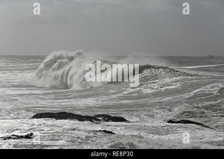 Big crashing wave. Northern portuguese coast during winter. - Stock Photo