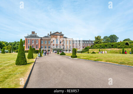 London, UK - June 24, 2018: Hyde Park and Kensington Palace entrance exterior with people tourists in sunny summer - Stock Photo