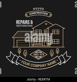 House construction company identity with suburban american