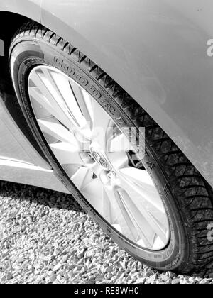 Isle of Skye, Scotland, June 2014: all season tyre on Mazda 6 - Stock Photo