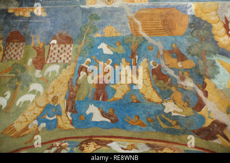Noah's Ark and the Deluge depicted in the fresco by Russian icon painters Gury Nikitin and Sila Savin (1680) in the north gallery (papert) of the Church of Elijah the Prophet in Yaroslavl, Russia. - Stock Photo