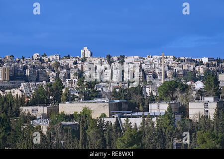 West Jerusalem hillside skyline with modern apartment buildings, with Hebrew University Givat Ram campus in foreground - Stock Photo