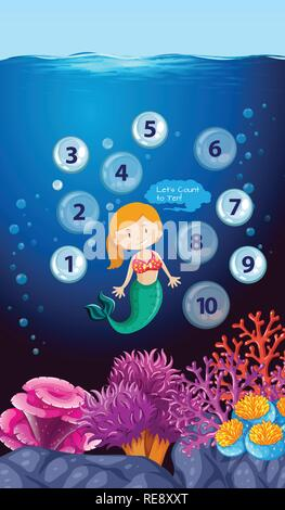 Mermaid count number underwater illustration - Stock Photo