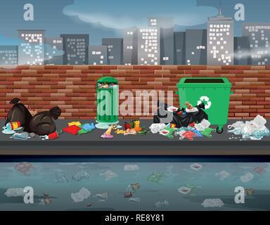 Litter in the urban landscape illustration - Stock Photo
