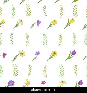 Seamless pattern with different spring flowers. Crocuses, daffodils and different herbs. Isolated elements on a white background. Vector hand drawing  - Stock Photo