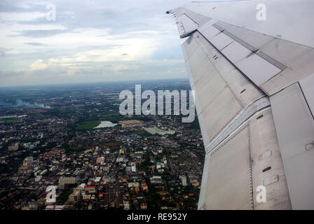 flying over Thailand, the view of Thailand from the window of the plane. - Stock Photo