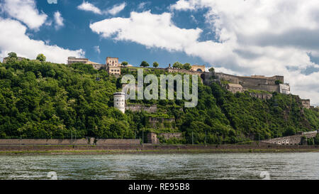 Panoramic view of The Ehrenbreitstein Fortress on the side of river Rhine in Koblenz, Germany. - Stock Photo