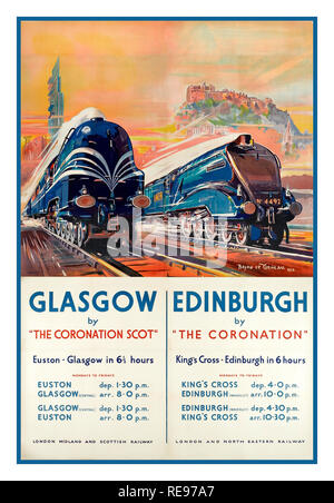 Vintage 1930's Steam Railway Poster promoting Two Rail services to London, one from Glasgow via The Coronation Scot to Euston and the other, Edinburgh via The Coronation to Kings Cross in around 6 hours - Stock Photo