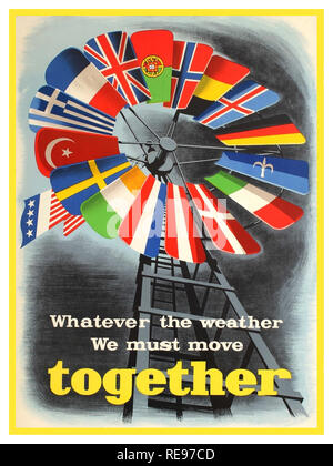 Vintage propaganda poster for the post-war US sponsored European Recovery Program (1948) known as the Marshall plan - Whatever the weather we must move together. Colourful design against a grey shaded background by I. Spreekmeester depicting a windmill with blades representing the flags of countries participating in the Marshall Plan with the American flag at the helm of the mill. This design received the 5th Prize in the Intra-European Cooperation for a Better Standard of Living poster competition on the theme of cooperation and economic recovery that was held in Europe for the Marsh - Stock Photo