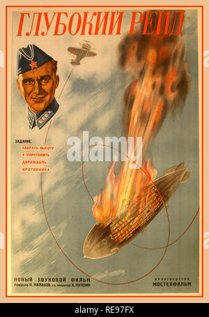 1930's Vintage Soviet Russian Film Poster Original vintage propaganda movie poster for a film, 'Deep Raid'  The caption on the poster reads 'Brief: gain altitude and destroy the zeppelin of the enemy.'  The airship pictured is most likely an LZ 130 Graf Zeppelin II that was built after the Hindenburg disaster. It was used by the Luftwaffe, Nazi Air Force, to conduct air reconnaissance over Poland and Great Britain. Given that in 1939 USSR signed non-aggression pact with Germany, most of the copies were destroyed - Stock Photo