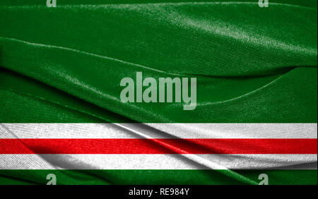 Realistic flag of Chechen Republic of Ichkeria on the wavy surface of fabric. Perfect for background or texture purposes. - Stock Photo