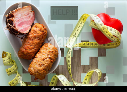 Health. tablets, heart together with fatty food as a concept of overweight, poor nutrition or an incentive to a healthy lifestyl - Stock Photo