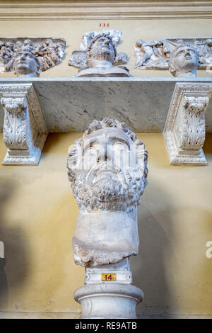 Bust sculptures at the Pio-Clementine Museum, Vatican City, Rome, Lazio, Italy - Stock Photo