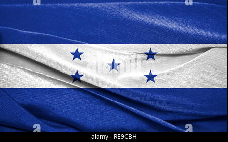 Realistic flag of Honduras on the wavy surface of fabric. Perfect for background or texture purposes. - Stock Photo