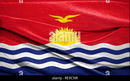 Realistic flag of Kiribati on the wavy surface of fabric. Perfect for background or texture purposes. - Stock Photo