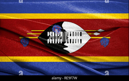 Realistic flag of Swaziland on the wavy surface of fabric. Perfect for background or texture purposes. - Stock Photo
